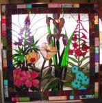 фото витраж картины с цветами